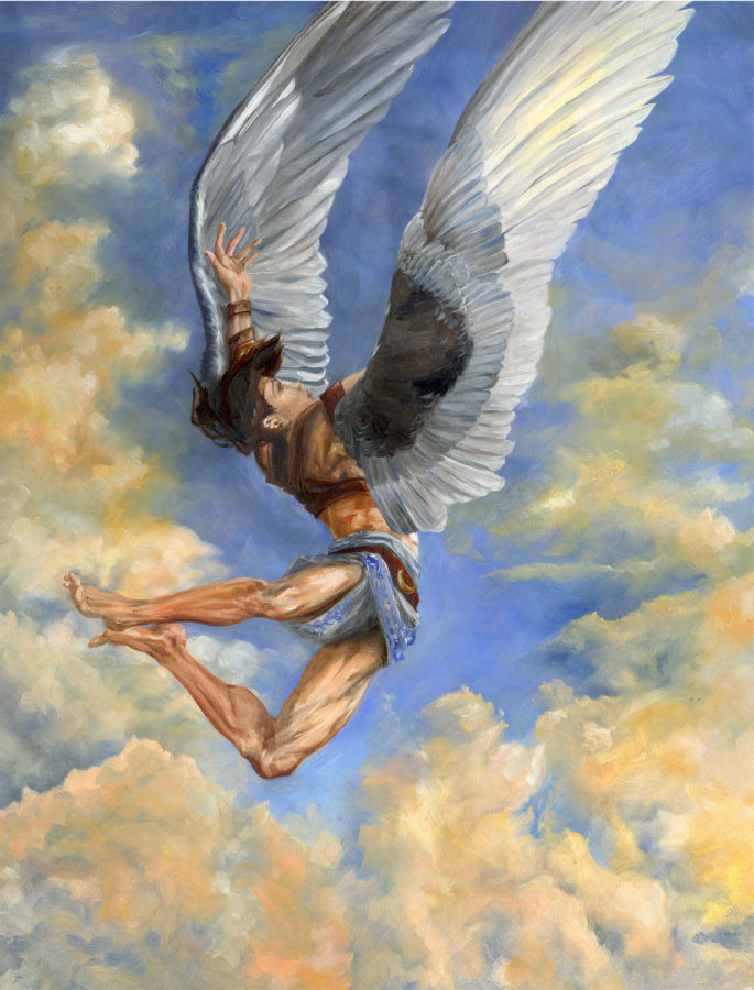 The defeat of Icarus comes from the natural hubris of man, which poisons my healing from time to time. Painting by Clare Henry McCanna.