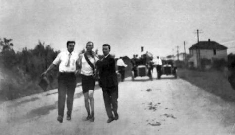 Thomas Hicks being carried to the finish line as he hallucinated from the rat poison. Photo by: Unknown (pulled from Wikipedia).